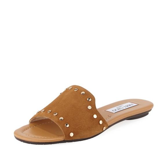 7d4bf9da75c Jimmy Choo Nanda Studded Suede Flat Slide Sandal
